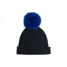 Load image into Gallery viewer, Beanie with Pom Poms | Black Blue Hat | Autumn Cashmere