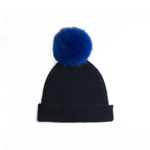 Beanie with Pom Poms | Black Blue Hat | Autumn Cashmere