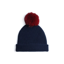 Load image into Gallery viewer, Beanie with Pom Poms | Dark Blue Red Hat | Autumn Cashmere