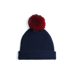 Beanie with Pom Poms | Dark Blue Red Hat | Autumn Cashmere