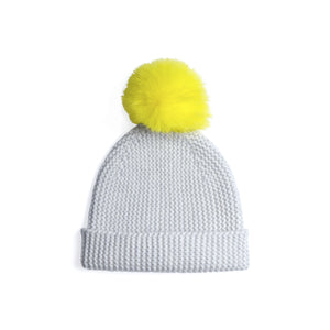 Beanie with Pom Poms | Grey Yellow Hat | Autumn Cashmere