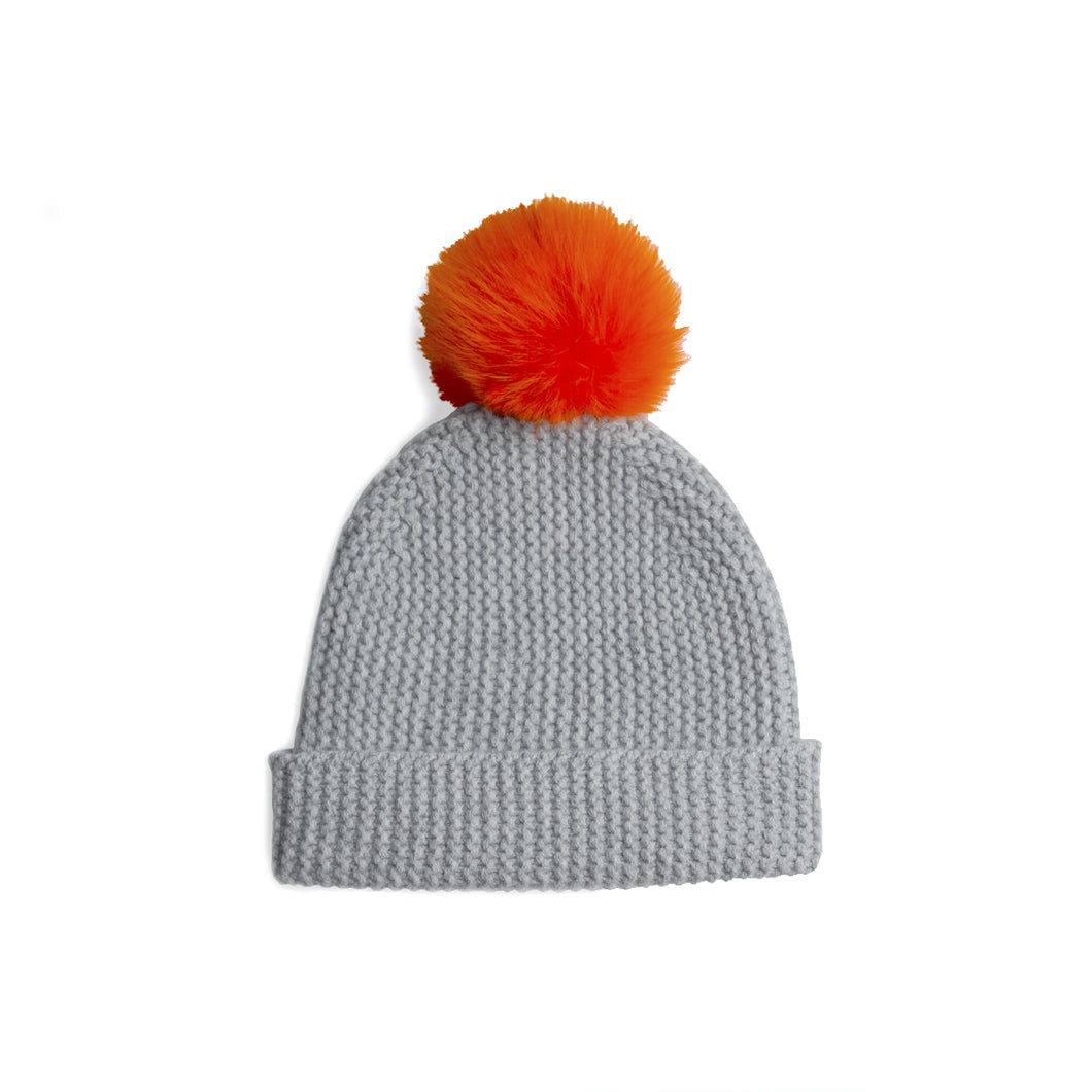 Beanie with Pom Poms | Grey Orange Hat | Autumn Cashmere
