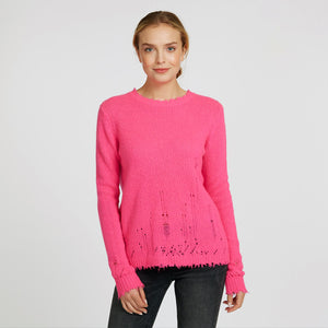 Distressed Crew Pullover in Atomic Pink | Women's Clothing & Knitwear | Autumn Cashmere