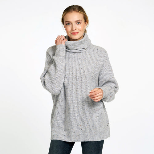 Oversize Turtleneck Pullover Sweater in Grey | Women's Clothing & Knitwear | Autumn Cashmere