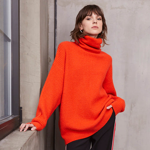 Oversize Turtleneck Pullover Sweater in Orange | Women's Clothing & Knitwear | Autumn Cashmere