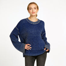 Load image into Gallery viewer, Inked Oversize Crew Pullover Sweater in Cricket Blue | Women's Clothing & Knitwear | Autumn Cashmere
