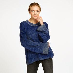 Inked Oversize Crew Pullover Sweater in Cricket Blue | Women's Clothing & Knitwear | Autumn Cashmere