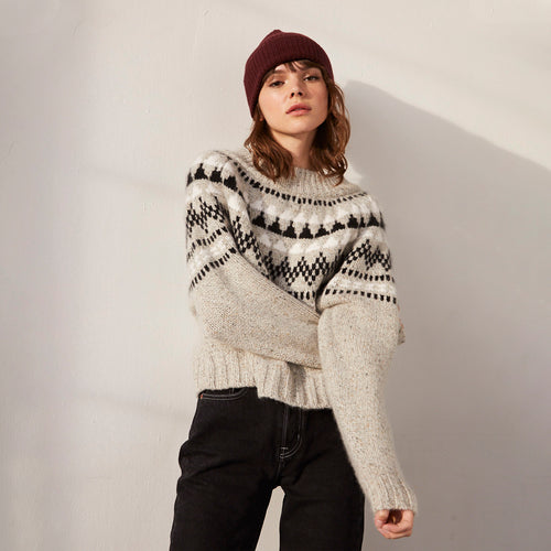 Crop Fair Isle Mock Pullover Sweater | Women's Clothing & Knitwear | Autumn Cashmere