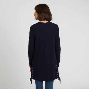 Shaker Open Cardigan Side Lacing in Dark Navy Blue | Long Sleeves and Pockets | Women's Knitwear | Autumn Cashmere