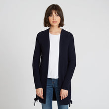 Load image into Gallery viewer, Shaker Open Cardigan Side Lacing in Dark Navy Blue | Long Sleeves and Pockets | Women's Knitwear | Autumn Cashmere