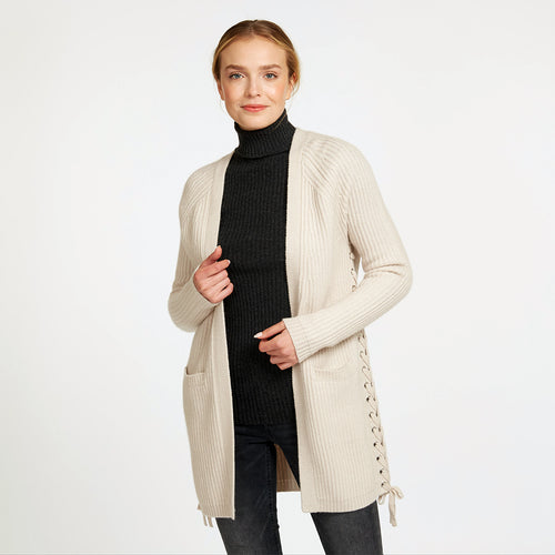 Shaker Cardigan with Side Lacing in Beige | Women's Cardigans & Jackets | Autumn Cashmere