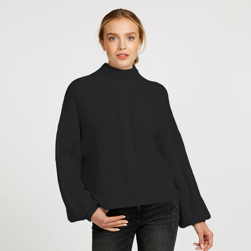 Cable Sleeve Mock Pullover Sweater in Black  | Women's Clothing & Knitwear | Autumn Cashmere