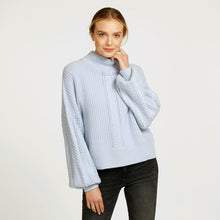 Load image into Gallery viewer, Cable Sleeve Mock Pullover Sweater in Light Blue  | Women's Clothing & Knitwear | Autumn Cashmere