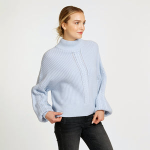 Cable Sleeve Mock Pullover Sweater in Light Blue  | Women's Clothing & Knitwear | Autumn Cashmere