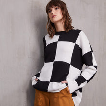 Load image into Gallery viewer, Oversize Checkerboard Crew Pullover in Black/White | Women's Clothing & Knitwear | Autumn Cashmere