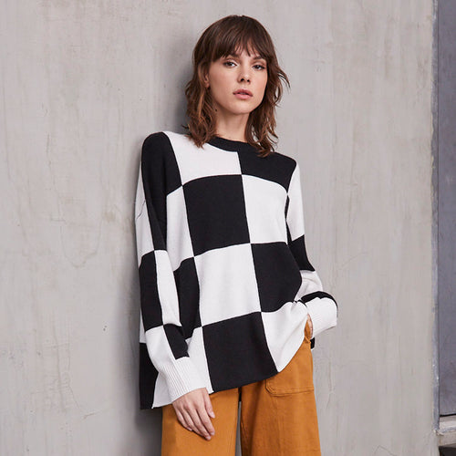 Oversize Checkerboard Crew Pullover in Black/White | Women's Clothing & Knitwear | Autumn Cashmere