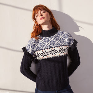 Fair Isle Fringe Mock Pullover in Navy Blue | Women's Clothing & Knitwear | Autumn Cashmere