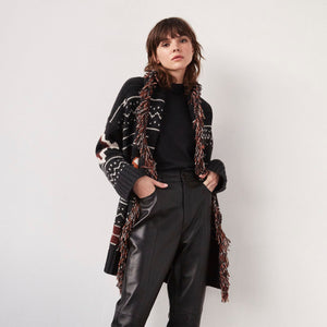 Navajo Belted Jacket with Fringe | Women's Cashmere Jackets & Coats | Autumn Cashmere