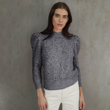 Load image into Gallery viewer, Tweed Puff Sleeve Crew