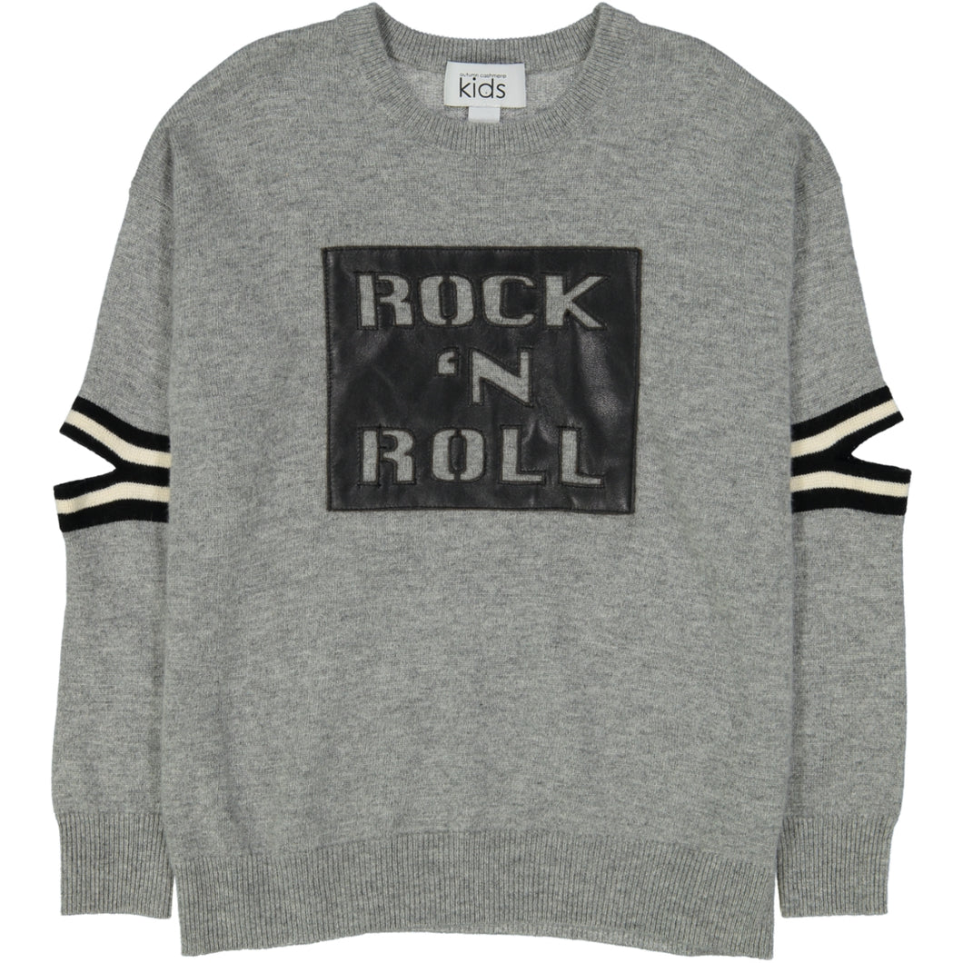 Rock N Roll Crew With Elbow Slits | Rock N Roll Sweater | Kids Clothing & Apparel | Autumn Cashmere
