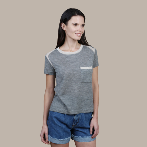 Autumn Cashmere. Women's Contrast Banded Pocket Tee in Grey. 100% Cashmere.