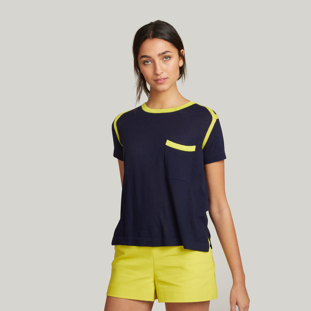 Autumn Cashmere. Women's Contrast Banded Pocket Tee in Navy/Yellow. 100% Cashmere.