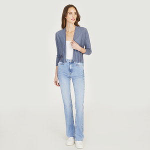 Easy Crop Cardigan in Denim