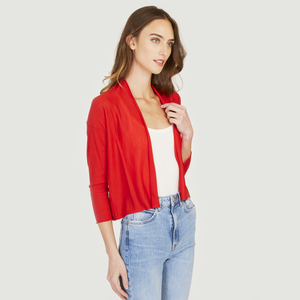 Easy Crop Cardigan in Lobster Red