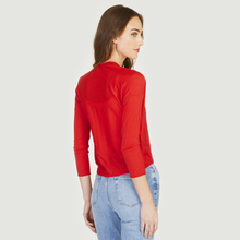 Load image into Gallery viewer, Easy Crop Cardigan in Lobster Red