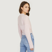 Load image into Gallery viewer, Tie Front Rib Cardigan in Cherry Blossom