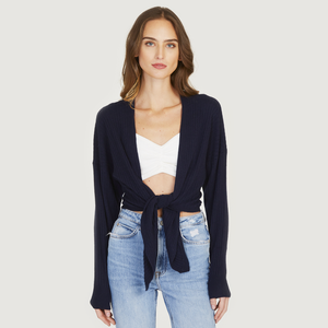 Tie Front Rib Cardigan in Navy