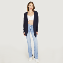 Load image into Gallery viewer, Tie Front Rib Cardigan in Navy