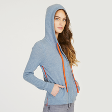 Load image into Gallery viewer, Boxy Hoodie w/ Contrast Ties in Faded Denim/Fanta