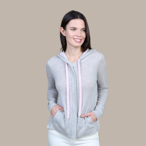 Autumn Cashmere. Women's Drawstring Hoodie with Large Side Pockets and Size Zip. 100% Pure Cashmere.