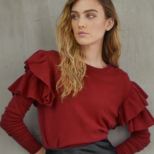 Double Ruffle Crew in Pepperberry