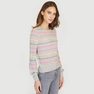 Puff Sleeve Pointelle Stripe Crew