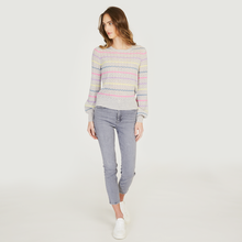 Load image into Gallery viewer, Puff Sleeve Pointelle Stripe Crew