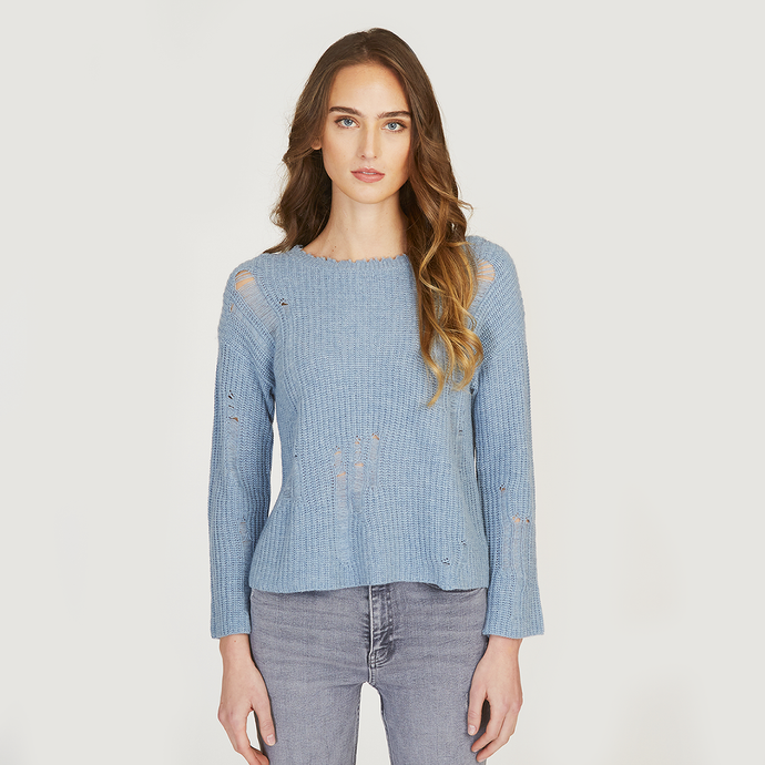 Autumn Cashmere | Women's Distressed Shaker Crew in Faded Denim