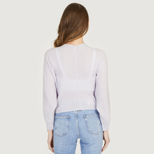 Load image into Gallery viewer, Rib Fringed Tie Front Dolman in Oxygen