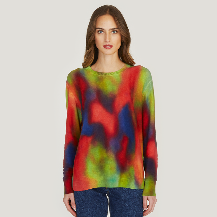 Autumn Cashmere | Women's Bright Splotch Print Crew Sweater | 100% Cotton