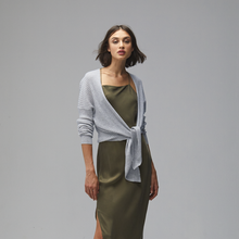 Load image into Gallery viewer, Tie Front Rib Cardigan. Women's Tie Front Cardigan. Light Blue. Pure Cashmere. Autumn Cashmere.