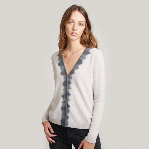 V-Neck Cardigan Dip Dye Placket