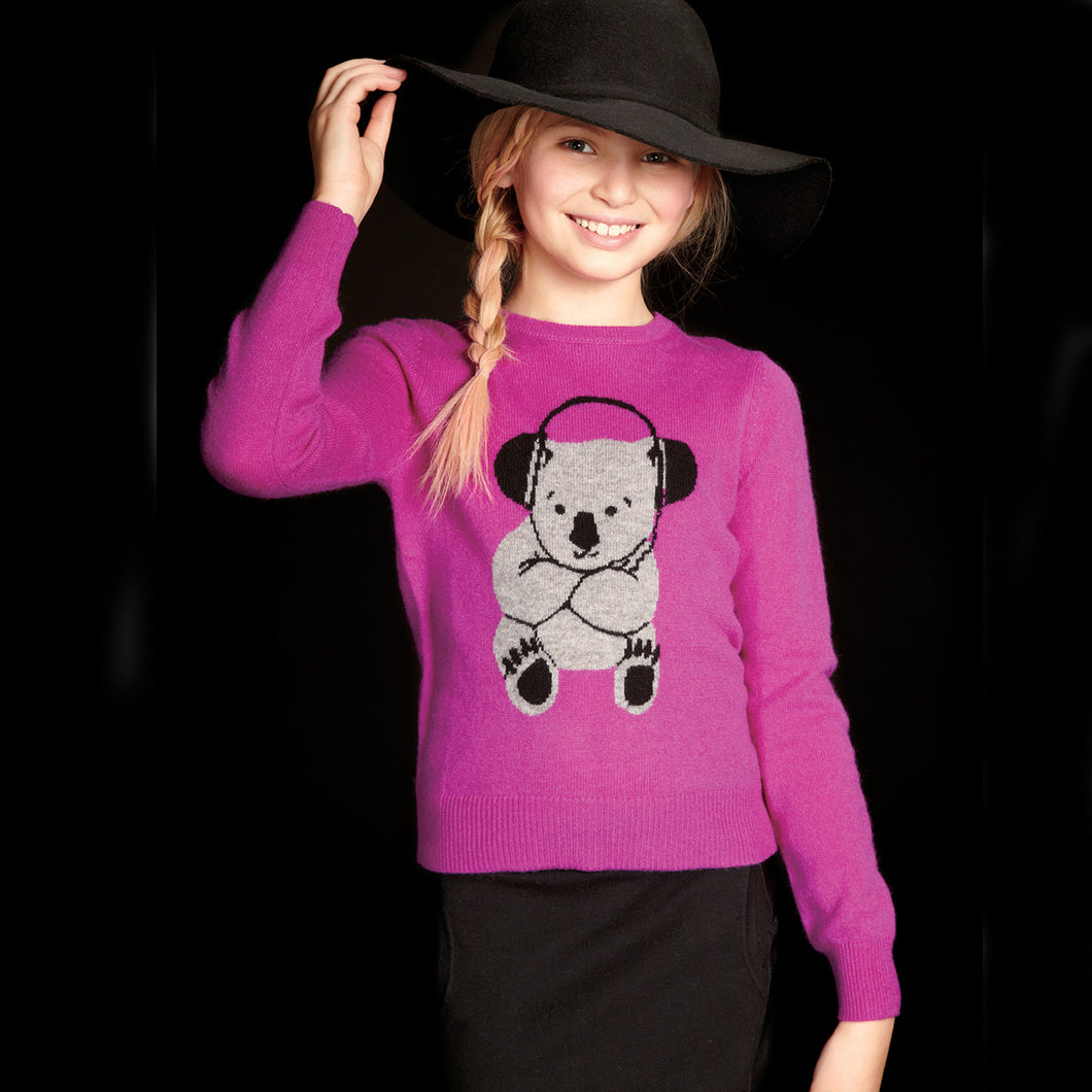 Koala Intarsia Sweater | Girls' Clothing & Apparel | Kids Koala Pullover | Autumn Cashmere