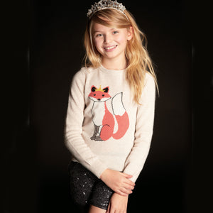 Fox Intarsia Pullover | Fox Sweater for Girls | Kids Clothing & Apparel | 100% Cashmere | Autumn Cashmere
