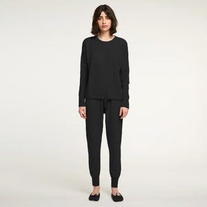 Cashmere Waffle Top in Black