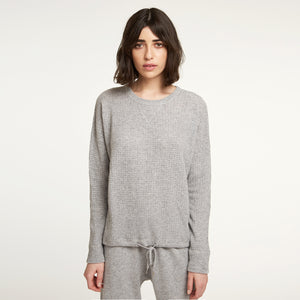 Cashmere Waffle Top in Grey