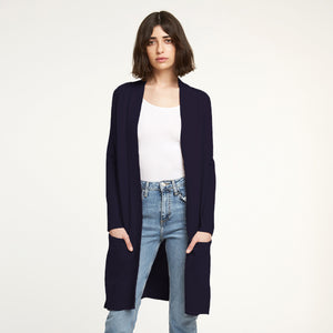 Cotton Maxi Open Cardigan in Navy