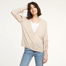 Load image into Gallery viewer, Cashmere Cardigan with Drawstring Sleeves | Autumn Cashmere