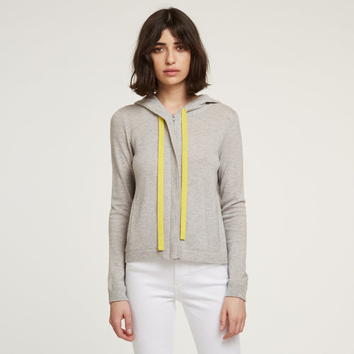 Boxy Zip Hoodie with Contrast Ties in Grey