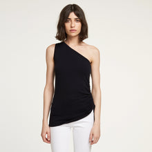 Load image into Gallery viewer, One Shoulder Cinched Top in Black | Autumn Cashmere